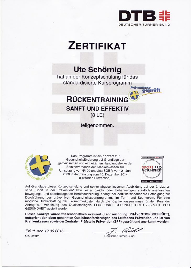 OKT - Ute Schöring Zertifikat Rückentraining DTB